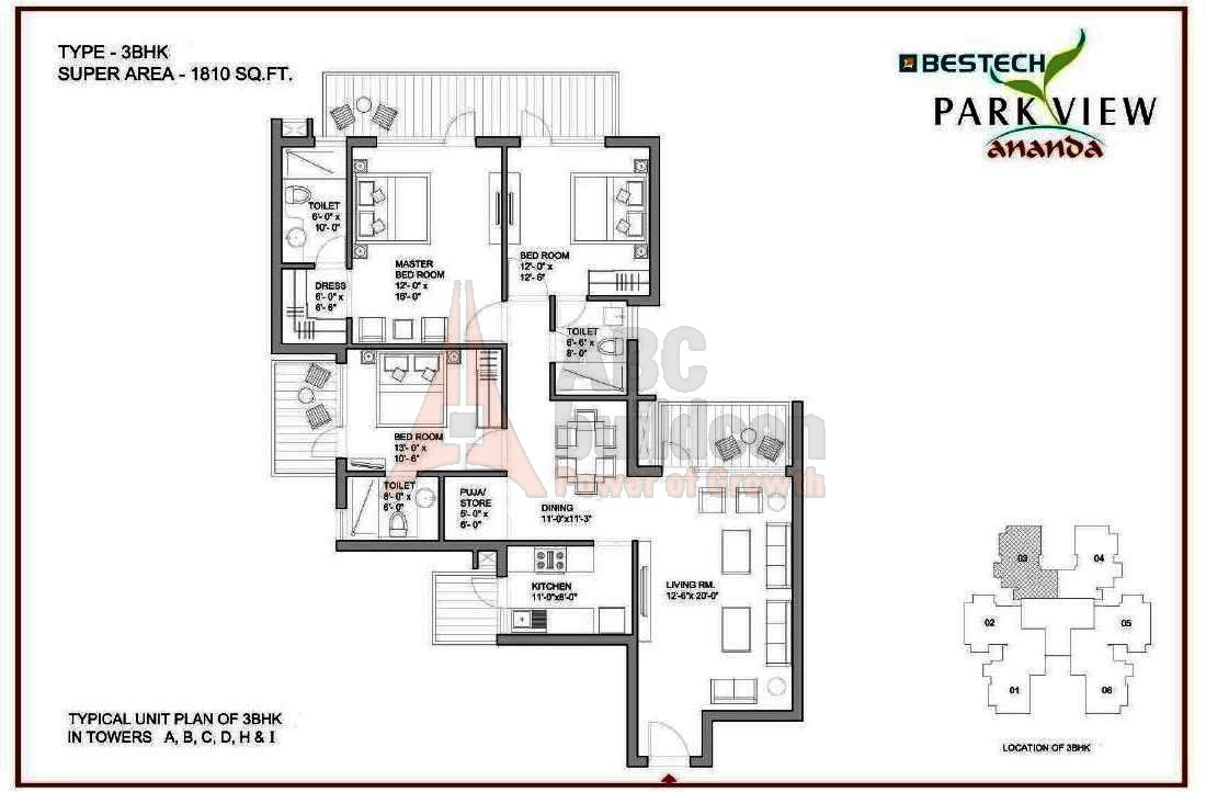 Bestech park view ananda floor plan for Parkview homes floor plans