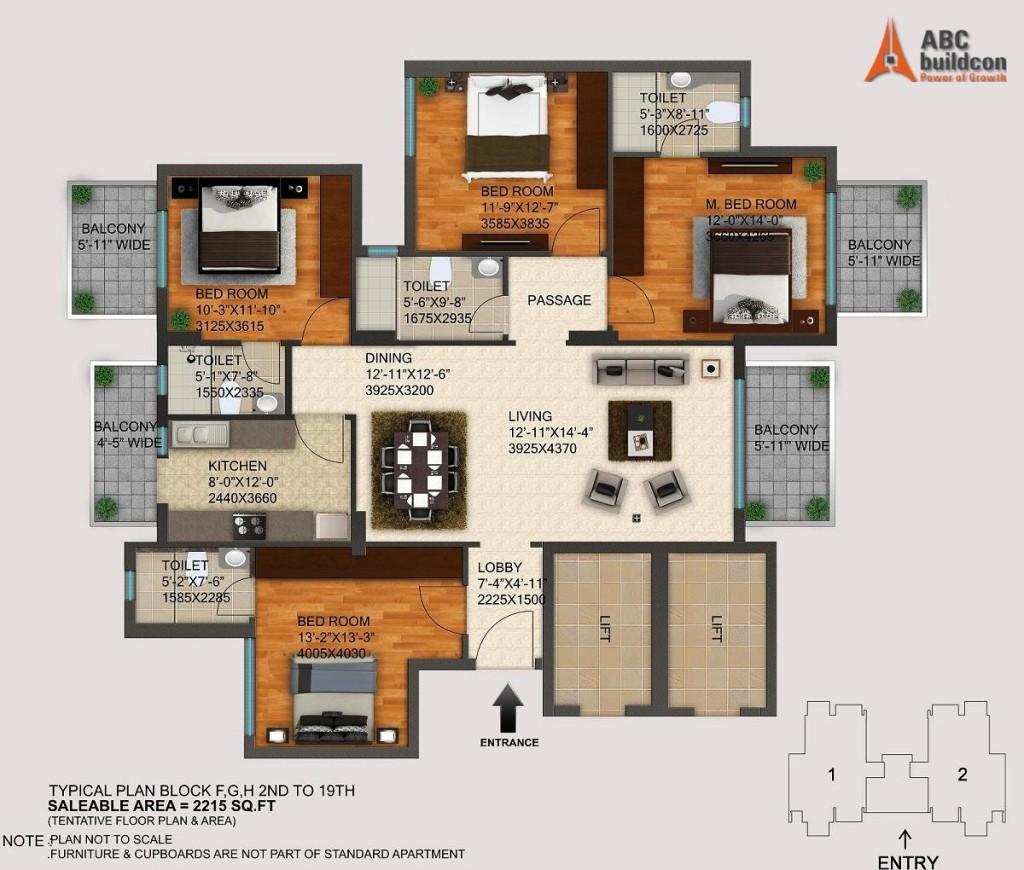 DLF Regal Gardens Floor Plan - FloorPlan.in