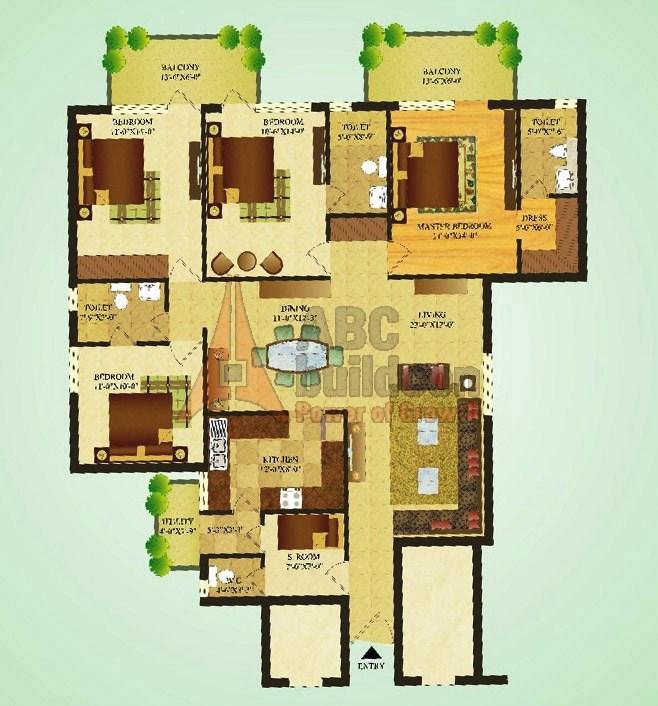 Sare Green Parc Floor Plan 4 Bhk S R 1900 Sq Ft