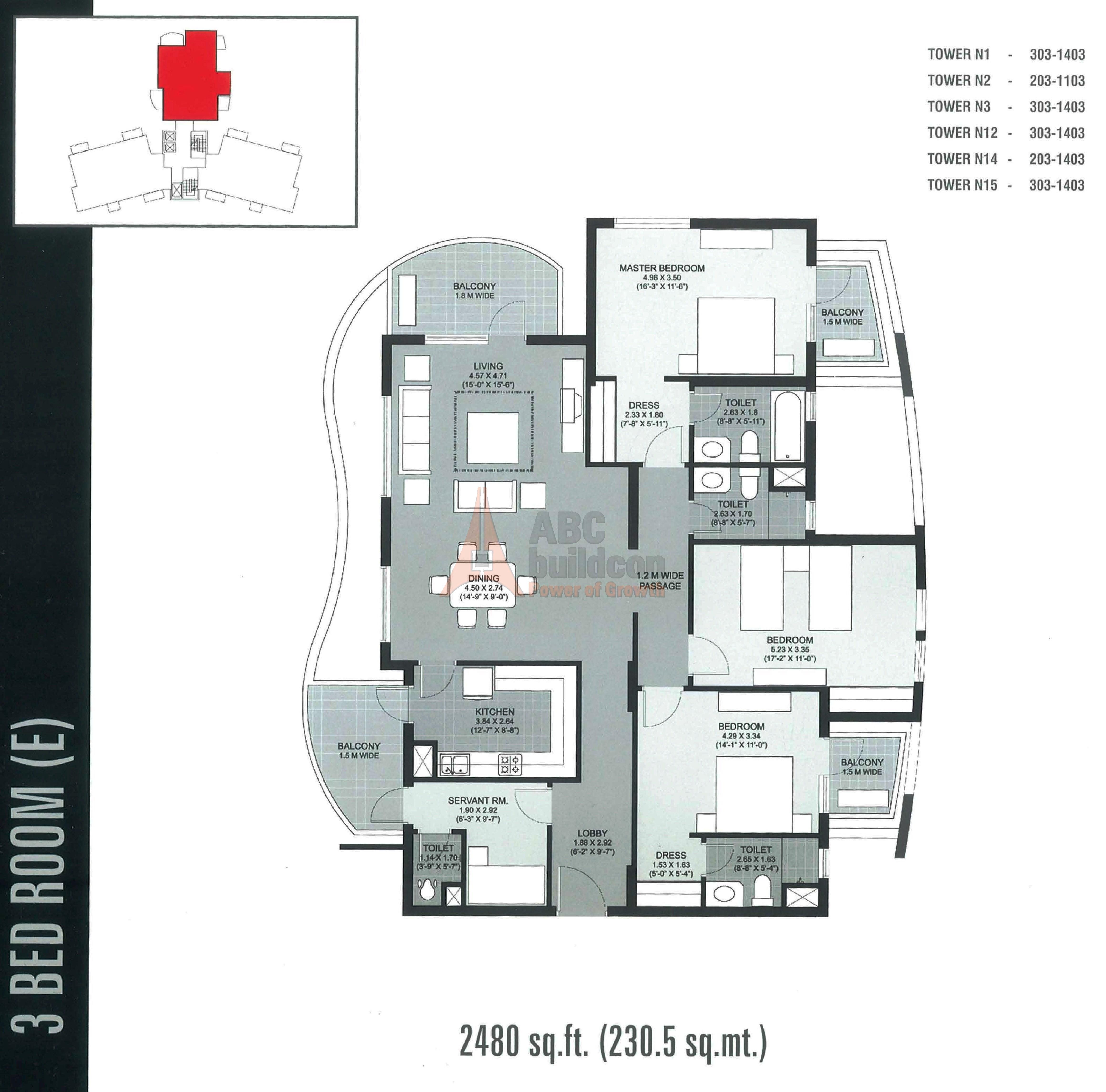 Unitech Close Floor Plan 3 Bhk S R 2480 Sq Ft