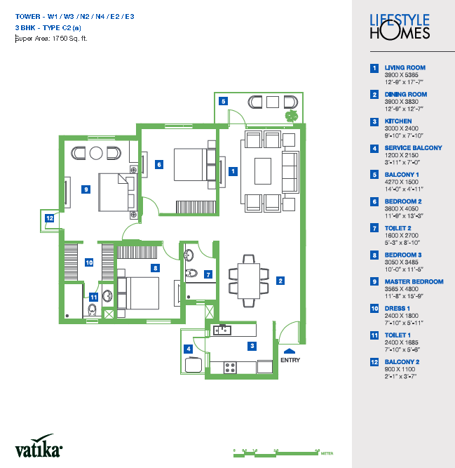 Vatika lifestyle homes floor plan for Lifestyle homes floor plans