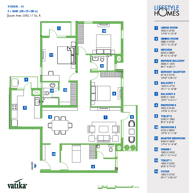 Vatika Lifestyle Homes Floor Plan
